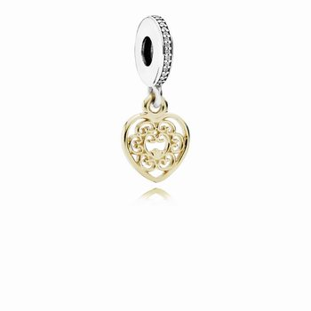 Magnificent Heart Dangle Charm, Clear CZ 791742CZ